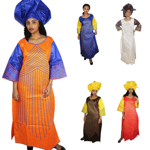 African Bazin Riche Embroidery Dashiki Clothing For Woman Lady Long Dress X21296