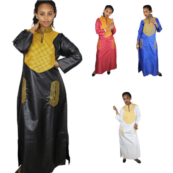 Dashiki Clothing For Women Embroidery Design Long Silk Dress  X21171
