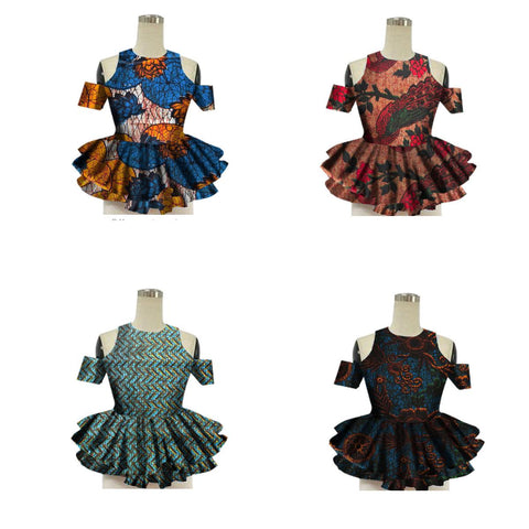 African Women Strapless Tops Flower Puff Hem Design Dashiki Batik X10400