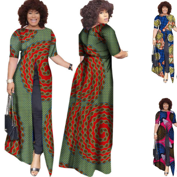 African Ladies Dashiki Wax Casual Straight Split X11460