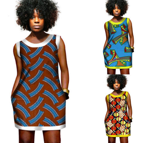 African Wax Dresses For Women Mini Dress Vest Printed Dashiki X11111