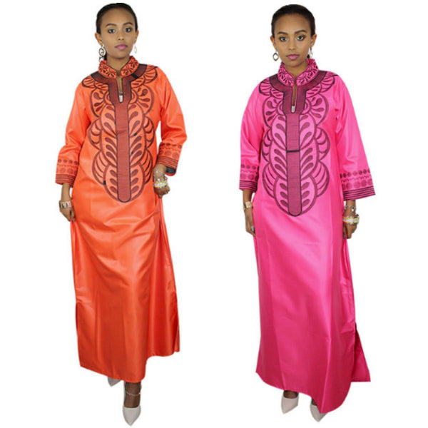African Clothing For Women Soft Material Embroidery Dress Pink and Orange X21172