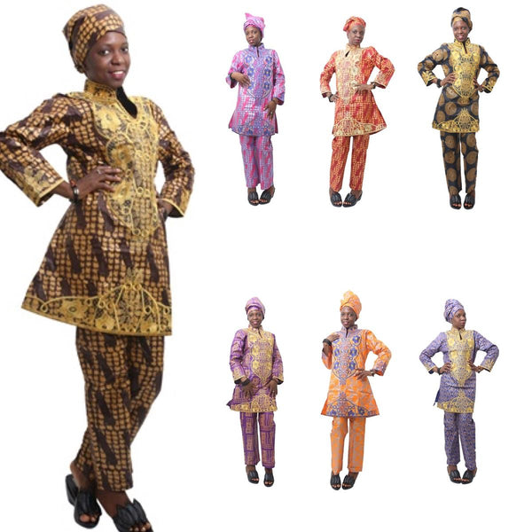 Women Dashiki Batik Bazin Brocade Top-Pants-scarf with Gold Embroidery X20646