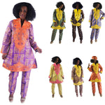 Women Dashiki Batik Bazin Brocade Top-Pants-scarf with Gold Embroidery X20648