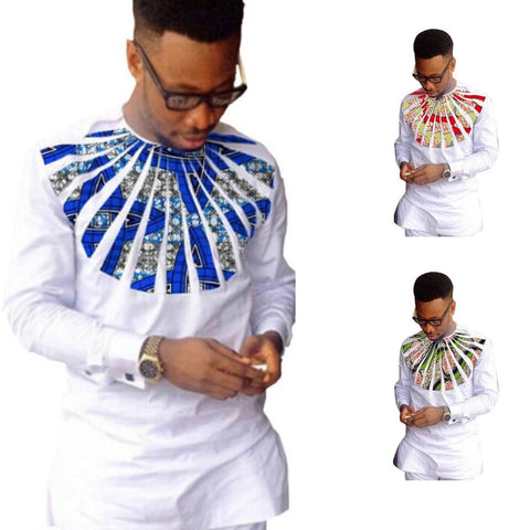 African Kitenge Dashiki Patchwork White Cotton Custom Made Men Clothing Y10483
