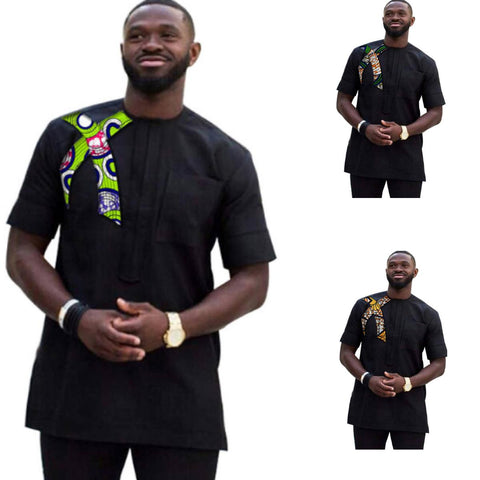 African Men Ankara Dashiki Patchwork Black Slim Fit Custom Made Clothing Y10487
