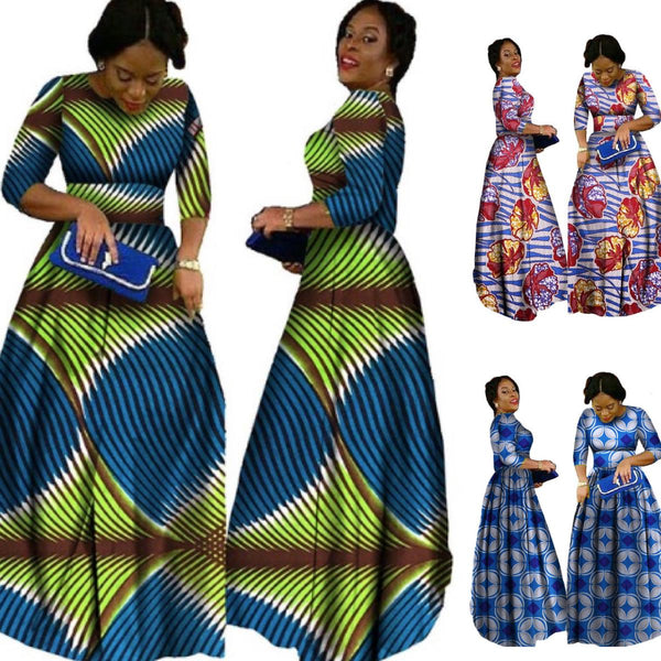 African Long Sleeve Dashiki Bazin Print Dress  X11477