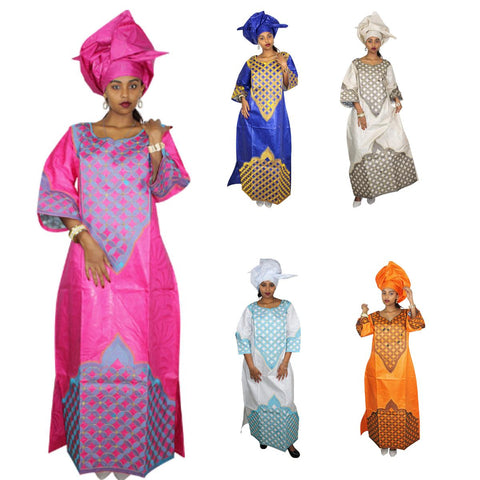 African Clothing Women Embroidered Dashiki Bazin Riche Cotton Long Dress X21295