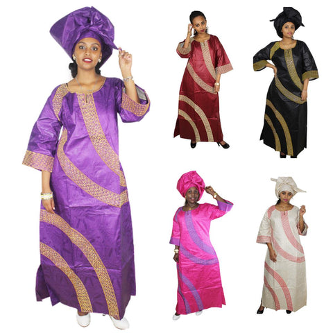 African Cloth For Women New African Bazin Embroidery Long Dress Design X21303
