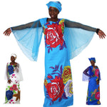 African Dresses For Women Plus Size Africa Clothes Print Floral Beading X40326