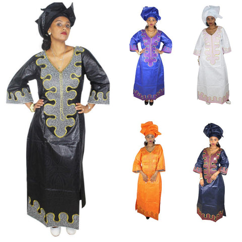 African Clothing For Women Bazin Riche Embroidery Design Long Dress with X21285