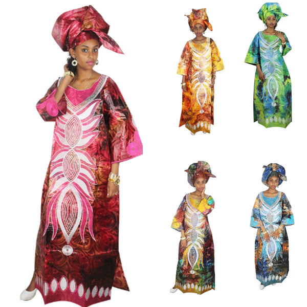 African Clothing For Women New Bazin Riche Design Embroidery Multicolor X21208