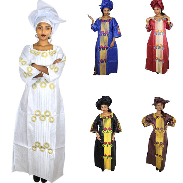 Dashiki African Dresses For Women Bazin Riche Embroidered Long Dress with X21297