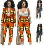 African Clothing Dashiki Top-Pants Crop-Top 2Piece Set For Women X10698