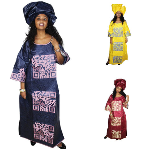 African Cloth Dashiki Bazin Riche Dress For Women Embroidery Ladies X21294