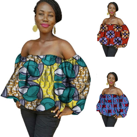 African Women Print Wax Dashiki Cotton Pattern Crop  Top X10399