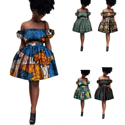African Lady Dashiki Printed Wax 2Piece Crop Top-Skirt Set X10588