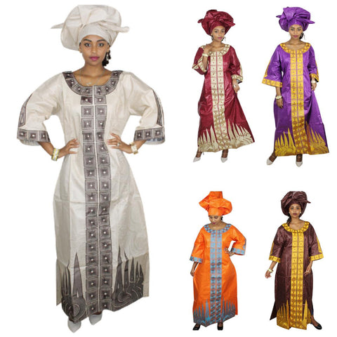 African Clothing Bazin Riche Embroidery Design Dashiki Dress with Scarf X21300