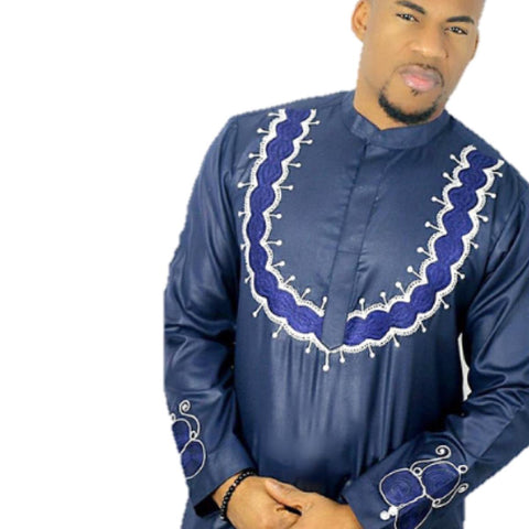 African Clothing Same Design Family Embroidery Dashiki Top-Pants Man V21601