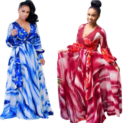 Casual Deep V Neck Sashes Print Women Maxi Dresses Long Sleeve Colorful X40332