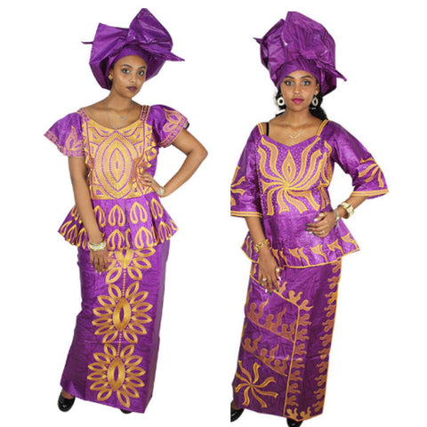 Embroidered African Dress For Women Dashiki Design Bazin Riche Purple X20923
