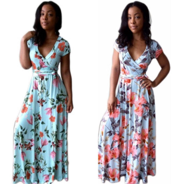 New Casual Deep V Neck Floral Women Maxi Dresses Short Sleeve Sashes X40353