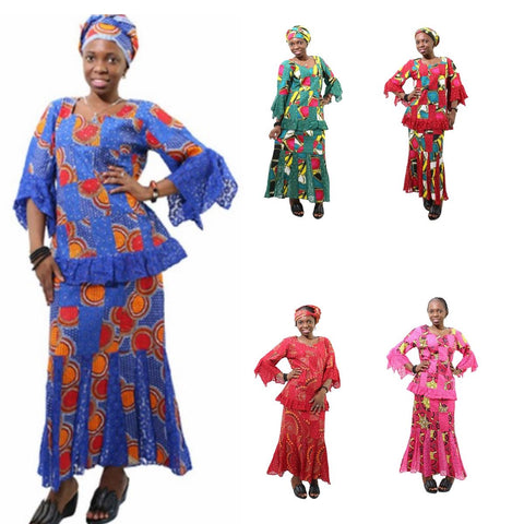 African Women Cloth Lace with Wax Print Patchwork Bazin Riche Embroidered X20930