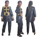 Women Dashiki Black Top-Pants Set With Gold Embroidery X20643