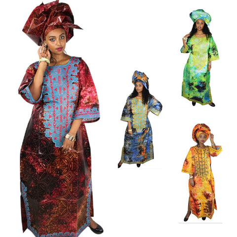 African Clothing For Womae Embroidery Bazin Riche Design Long Dress with X21287