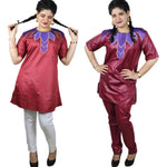 African Clothes Bazin Embroidery Dashiki Design Dresses Top with Pants Maroon Wh - Afrinspiration