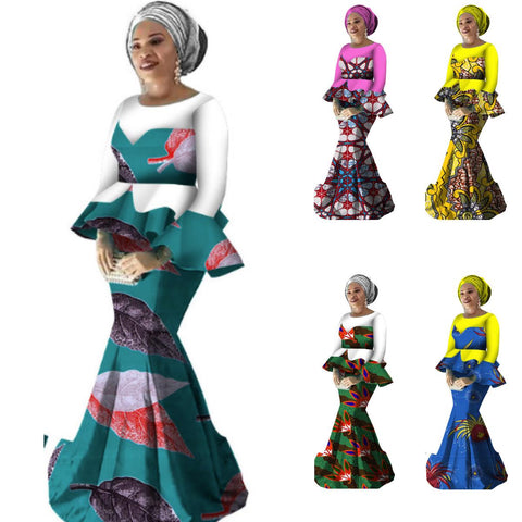 African Style Top and Long Skirt For Women Cotton Print Kitenge Ankara X11056