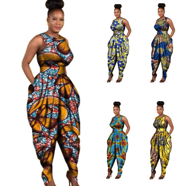 African Custom Clothing Maxi Size Women Jumpsuit Cotton Wax Romper X11542