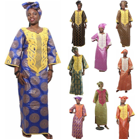 African Clothing Embroidered Bazin Custom Clothing Dashiki Women Design X21308