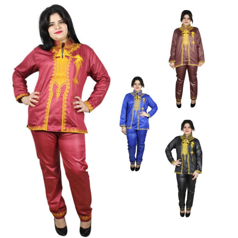Women Dashiki Red Blue Brown Black Top-Pants with Gold Embroidery X20636