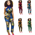 African Cloth Women Cotton Wax Print Romper Jumpsuit with Hanging Neck - Afrinspiration