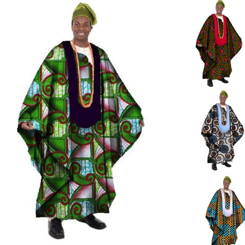 African Print Wax Tailored Long Men Loose O-Neck Robe Dashiki Y10904