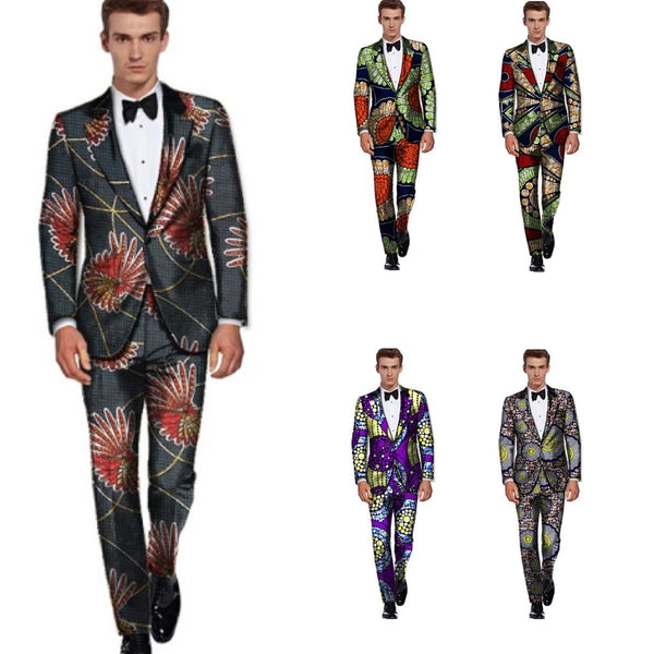 Men African Clothing Dashiki Ankara Pattern Blazers Suit with Pants Y10895