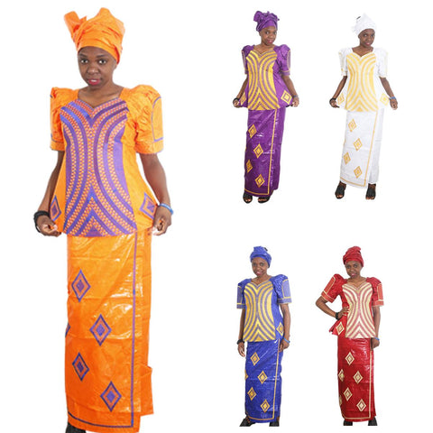 African Traditional Bazin Riche Cloth Embroidery Top-Skirt Dress Set For X20934