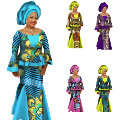 African Prom Dress Top-Skirt Set For Women Dashiki Blouse Print Wax X11034