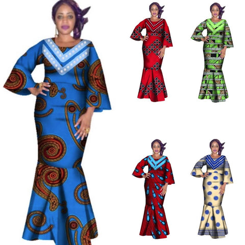 African Women O-Neck Dashiki Cotton Print Bazin Dress For X11455