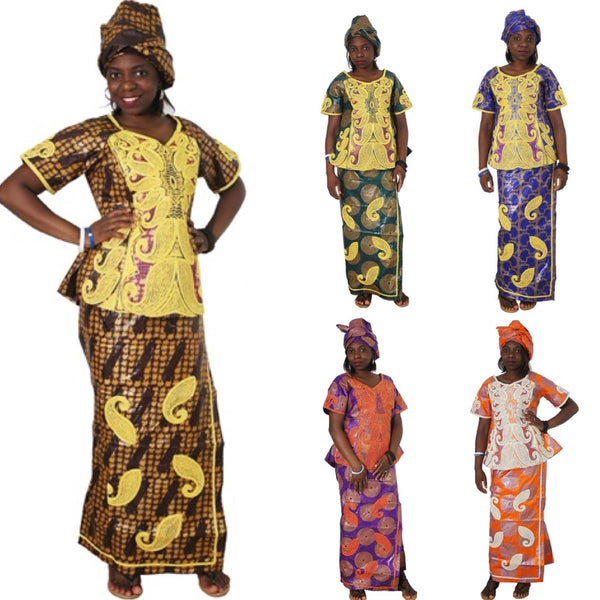 African Clothes Bazin Embroidery Dresses Short Rapper with Scarf Three Pcs - Afrinspiration