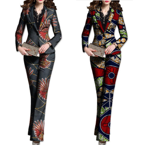 Customized African Dashiki 2-Piece Women Blazers and Pants Set X10715