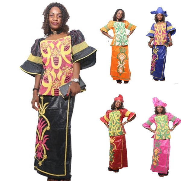 Embroidered Cotton African Bazin Cloth For Women Blouse Wrap Skirt with X20932