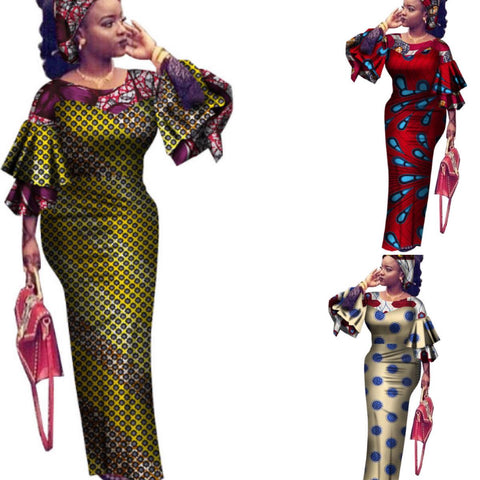 African Dress For Women Vintage Maxi Long Party  X11478