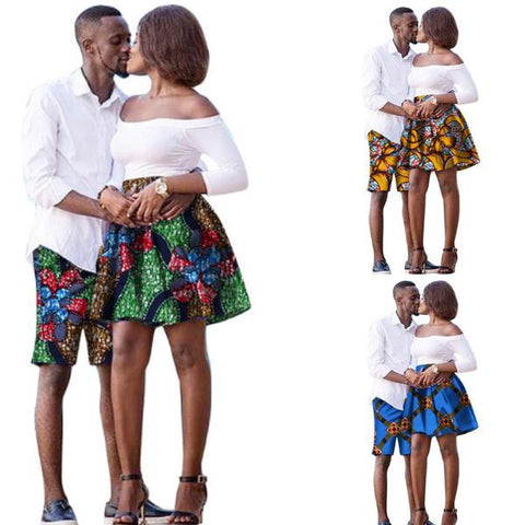 African Clothing For Lovers Matching Women Skirt Men Shorts Dashiki  V11704