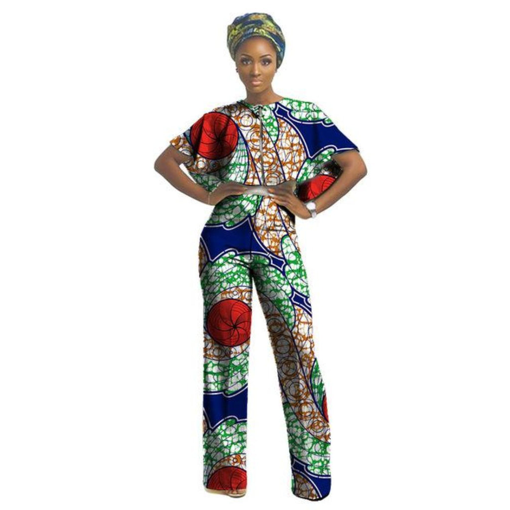 46baaf29f4 African Clothing For Women Nigerian Ghanaian Style Dashiki Print Top-Pants  Jumpsuit Amazon