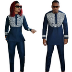African Clothing For Couples Man and Woman Set Same Design Embroidery V21627