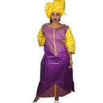 A068# African New Fashion Design Bazin Embroidery Dresses Long Dress With Scarf
