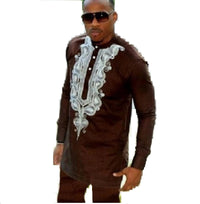 African Men Embroidered Dashiki Bazin Top and Pants Set Nigeria Senator Style