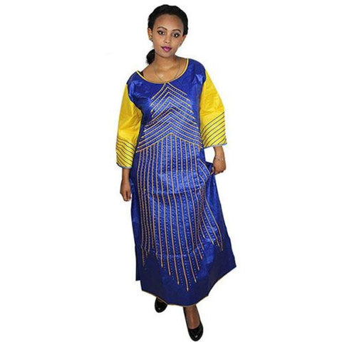 African Bazin Riche Embroidery Design Dress Dresses For Woman Lady Long Blue With Gold / L